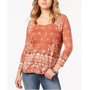 Lucky Brand Red Tribal Long Sleeve Scoop Neck